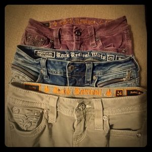 3 Pairs Womens Rock Revival Jeans Size 24 And 25 m